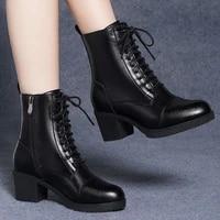 women leather shoes new high heeled martin boots women short boots autumn winter 2020 fashion womens platform heels