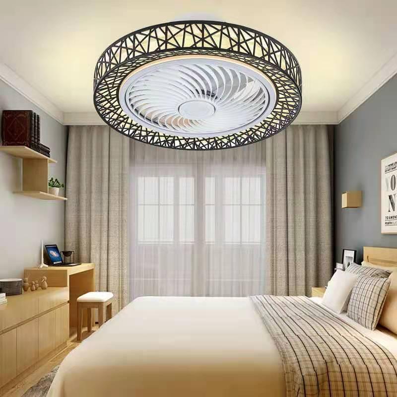 الشمال ما بعد الحداثة ذكي LED مروحة سقف مع مصباح التحكم عن بعد غرفة نوم ديكور مروحة غير مرئية الصامت مروحة سقف مروحة بمصباح