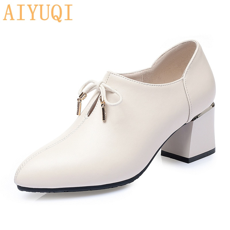AIYUQI Spring Shoes Women 2021New Genuine Leather Women's Shoes Pointy Thick Heel Fashion Bow Large