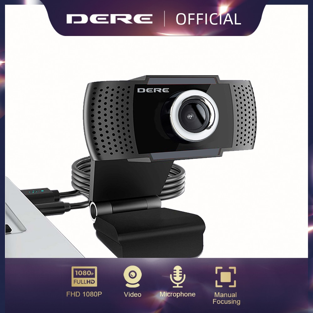 DERE X22 FHD 1080P Webcam Mini Camera Video Conference Mini USB Web Cam Microphone Focus for Rotatable Laptop Desktop Computer