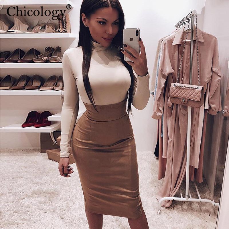 Chicologia camurça sexy elegante cintura alta midi lápis saia mulheres bodycon ajuste fino 2019 outono inverno casual roupas de senhora
