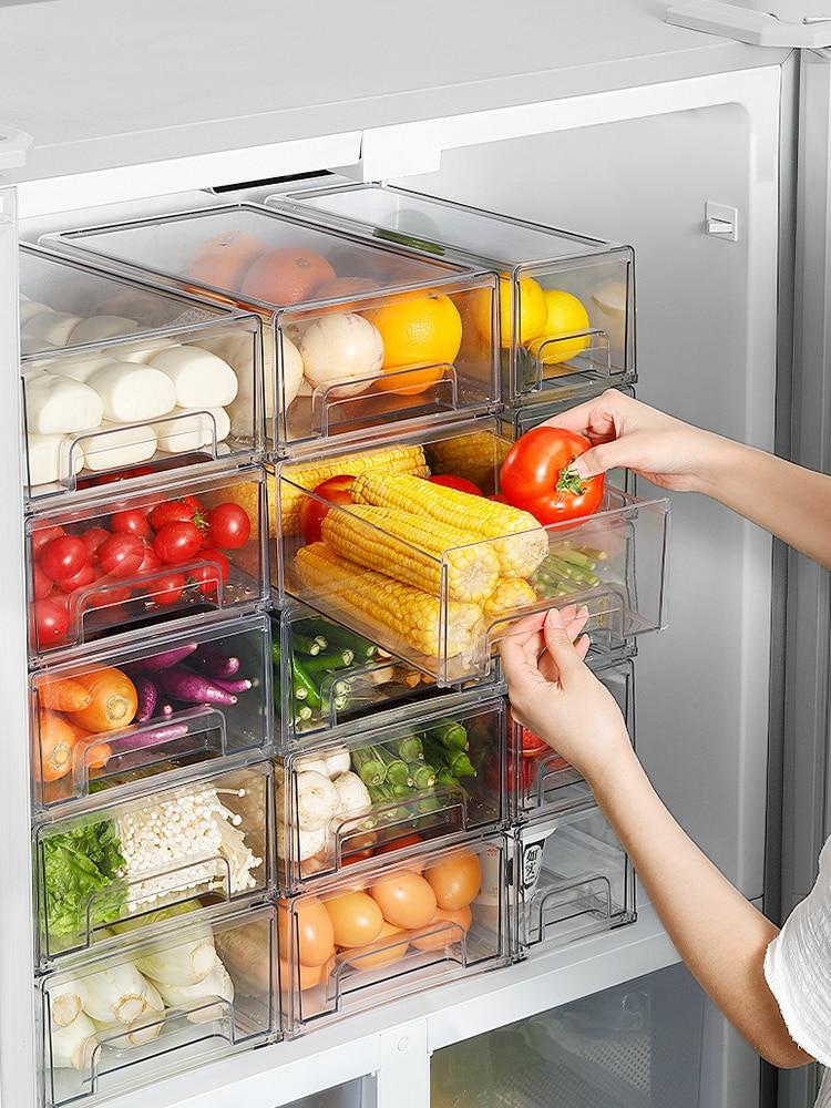 Refrigerator Organizer Bins Clear Fruit Food Jars Storage Box with Handle  for Freezer Cabinet Kitchen Accessories Organization