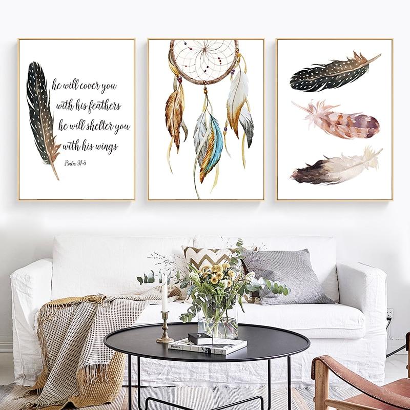 Nodic decoração pena e dreamcatch pintura da lona arte da parede poster impressão bela arte para casa decoração da parede