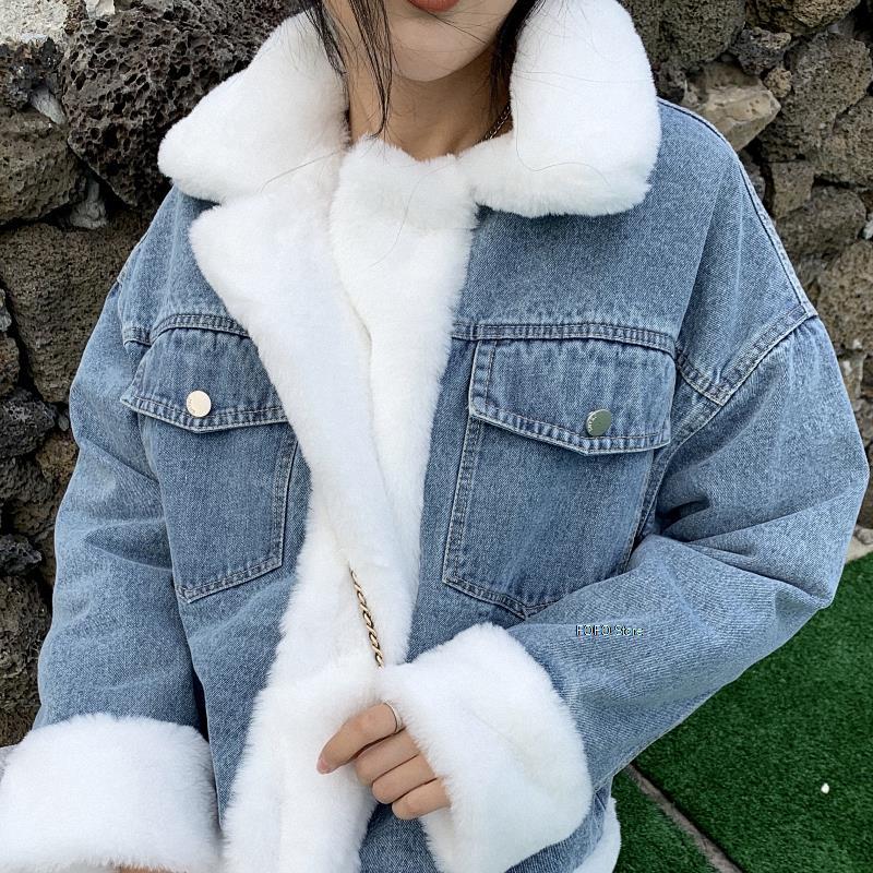 الشتاء الدنيم المرأة منتصف طول النسخة الكورية المخملية سميكة لامب الشعر بطانة القطن وسادة مبطنة الدنيم سترة سترات الإناث