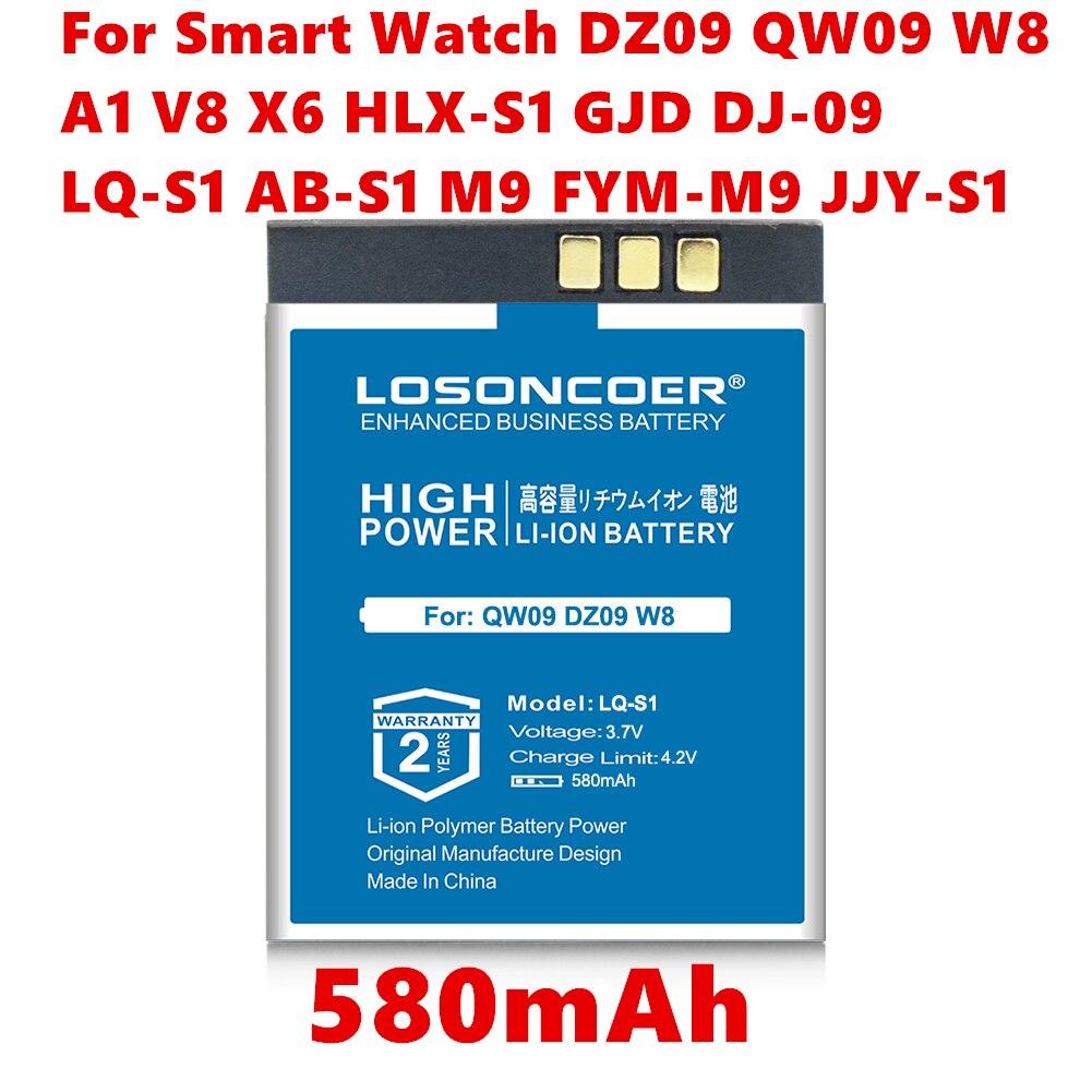 580mah LQ-S1 AB-S1 LQ-A1 JHCY-S1 LQ-A1 Batterie Pour Montre Intelligente QW09 DZ09 W8 DZ09,A1,V8,X6 HLX-S1 GJD DJ-09 M9 FYM-M9 JJY-S1 GPS