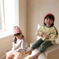 2021 new baby clothes set animal embroidery pattern sweatshirt pants 2pcs children casual suit boys and girls long sleeve set