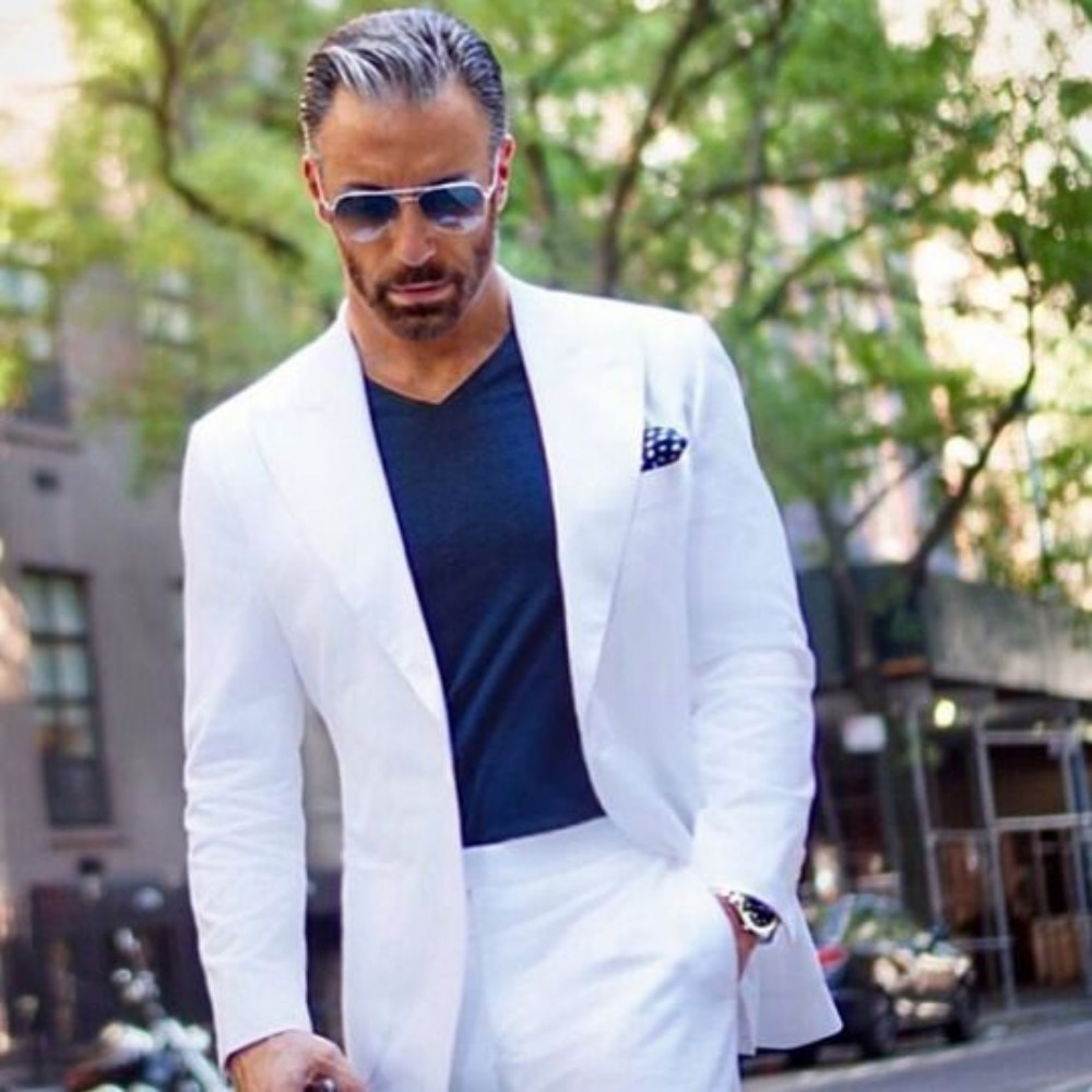 White/Grey/Burgundy Men's Suit 2 Pieces Casual Peaked Collar V Neck Tuxedo Groomsmen for Wedding Suits Men 2019 (Blazer+Pants)