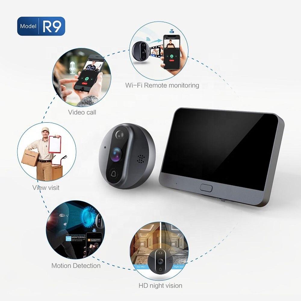 Support tuya peephole camera wireless audio doorbell wifi 4.3 inch touch screen video intercom system enlarge