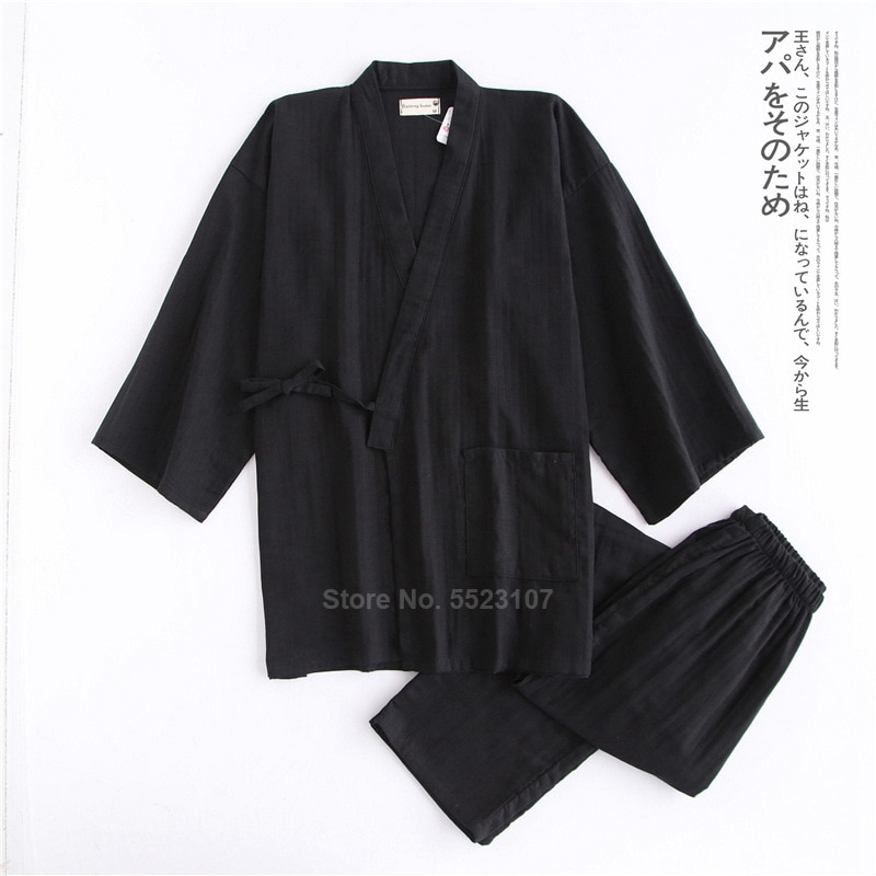 2020 мужчина кимоно пижамы комплект для самурая мужчины хлопок традиционный японский топ брюки повседневный дышащий юката одежда для сна одежда