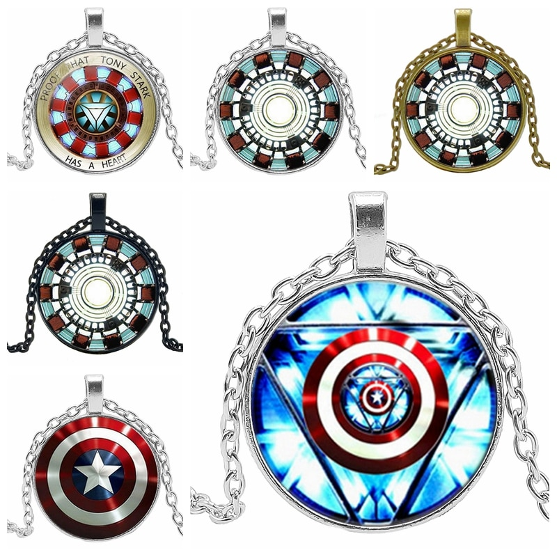 2020 Hot Creative Iron Man Gather Energy Heart Time Crystal Glass Convex Round Pendant Necklace Clothing Sweater Chain Jewelry