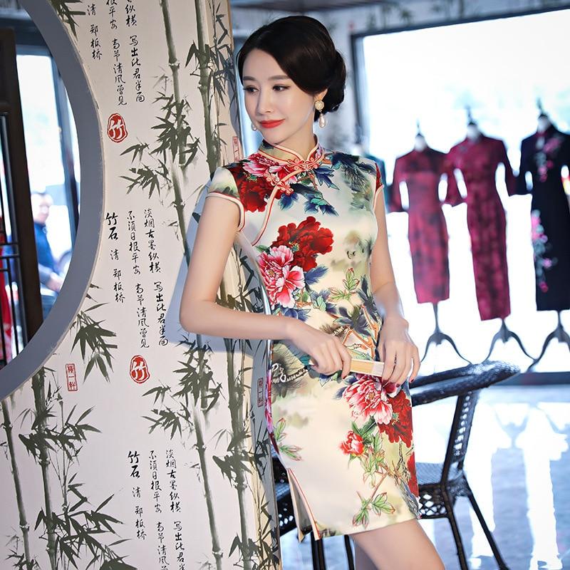 Sheng Coco damas Mini Cheongsam vestido de seda nuevo diario Casual Delgado Qipao de flores de peonía de Mini vestido chino
