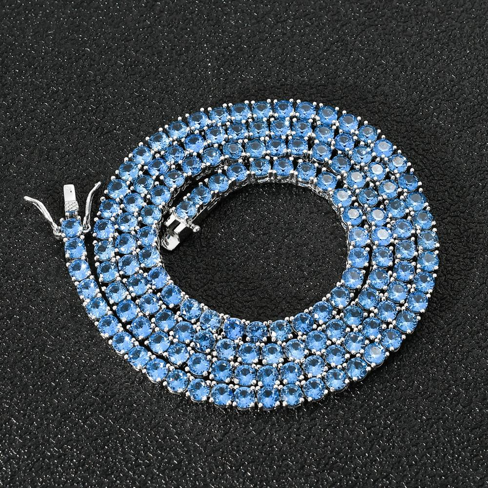 1 Newf Fashion Charm Bling Iced Out Sea Blue Cubic Zircon 4mm Tennis Chain Necklace Hip Hop Jewelry for Couple Men Women Gift