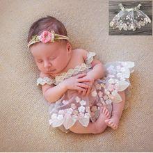 Accessoires de photographie en dentelle pour nouveau-nés   Robe brodée de princesse Flokati, accessoires de stand Photo pour bébés filles, accessoires de Studio, 2020