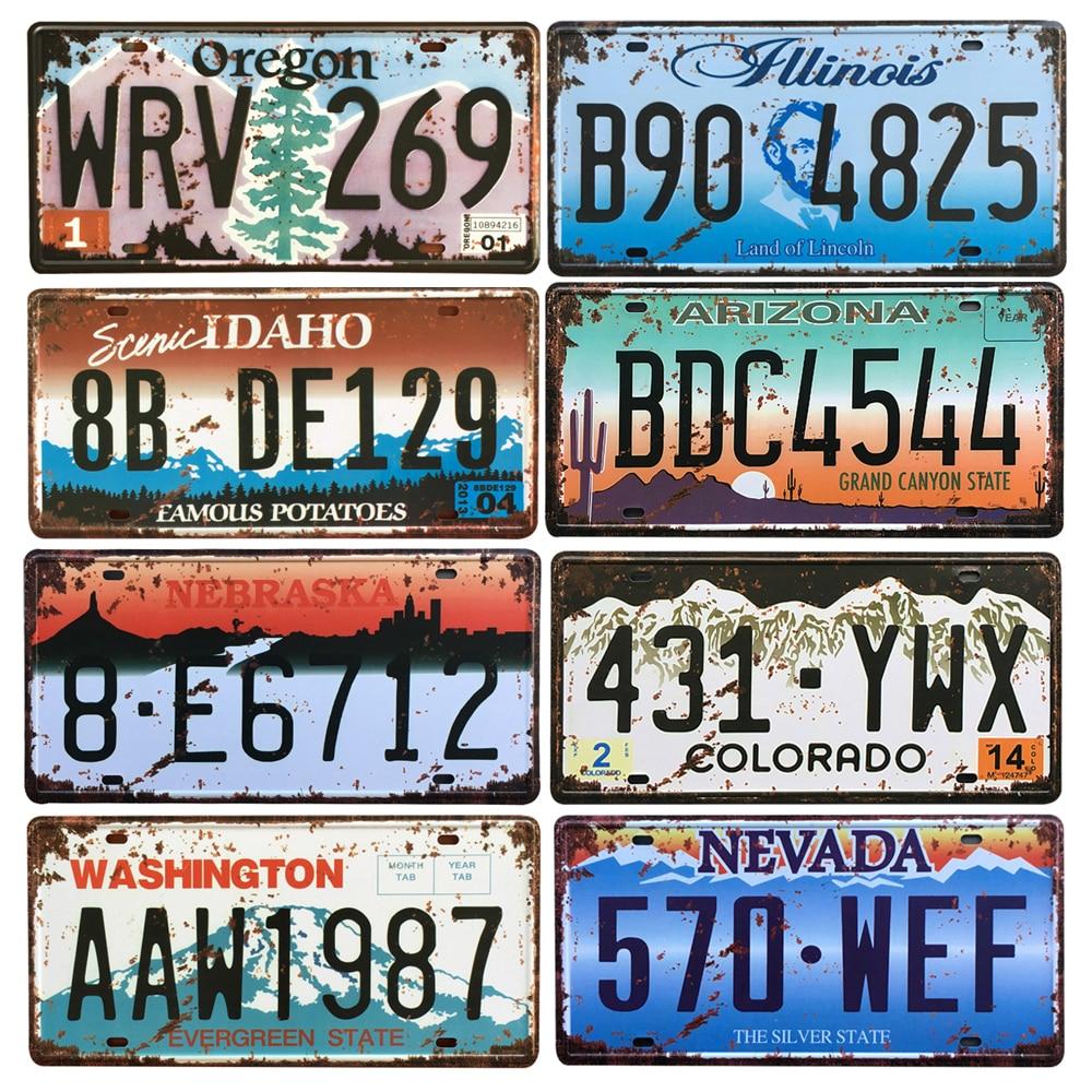 Póster clásico de Metal, decoración de pared, Bar, Pub, letreros de lata para garaje y placas, USA, Texas, Nueva York, California