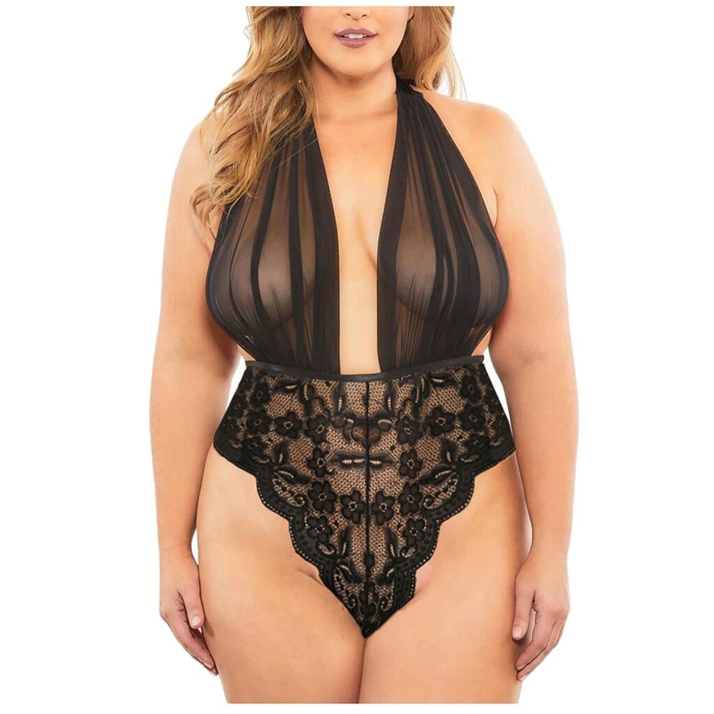 Горячее Эротическое белье размера плюс, сексуальное нижнее белье, Для женщин из прозрачного кружева с глубоким v-образным вырезом, сексуаль...