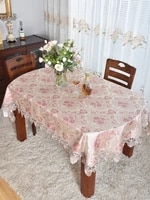 european style nobal oval retractable flat tablecloth round table retractable lace household square towel manteles de mesa