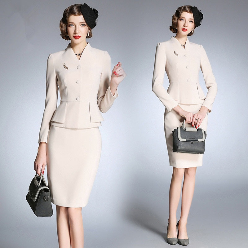 Vestido de lujo traje chaqueta Oficina señoras trabajo Formal negocios desgaste manga larga Midi lápiz elegante profesional conjunto de dos piezas