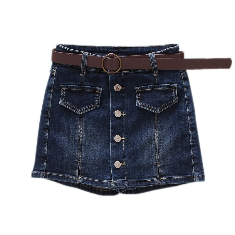Women Skirt Shorts 2019 New Summer Autumn Mid Waist Blue Front Button Pocket Short Jeans Vintage Feminino
