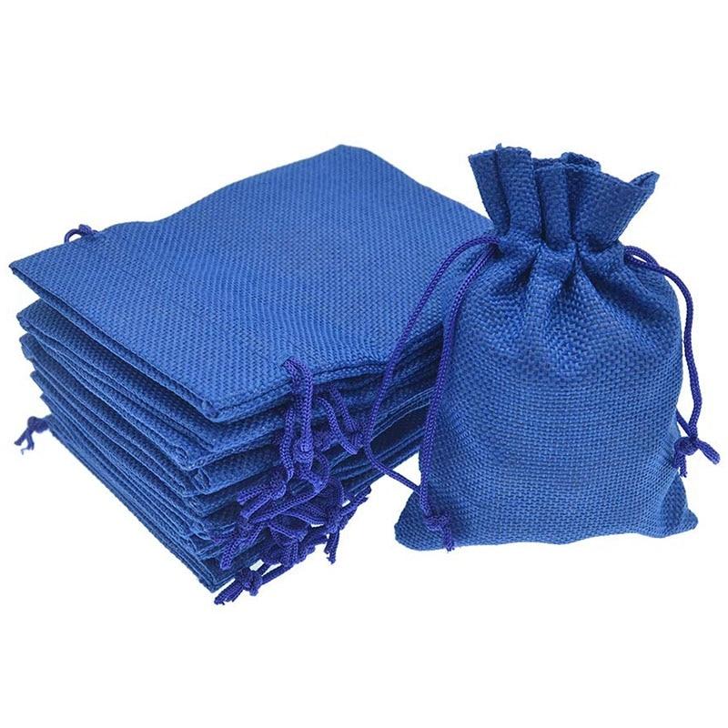 Hot Sale 50Pcs Drawstring Burlap Jute Sacks Jewelry Candy Pouch Christmas Wedding Party Favor Gift Bags (Royal Blue 10X14cm)