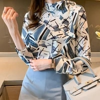 korean womens shirts chiffon blouses long sleeve shirt top woman striped print bow blouse ol floral ladies tops women clothing