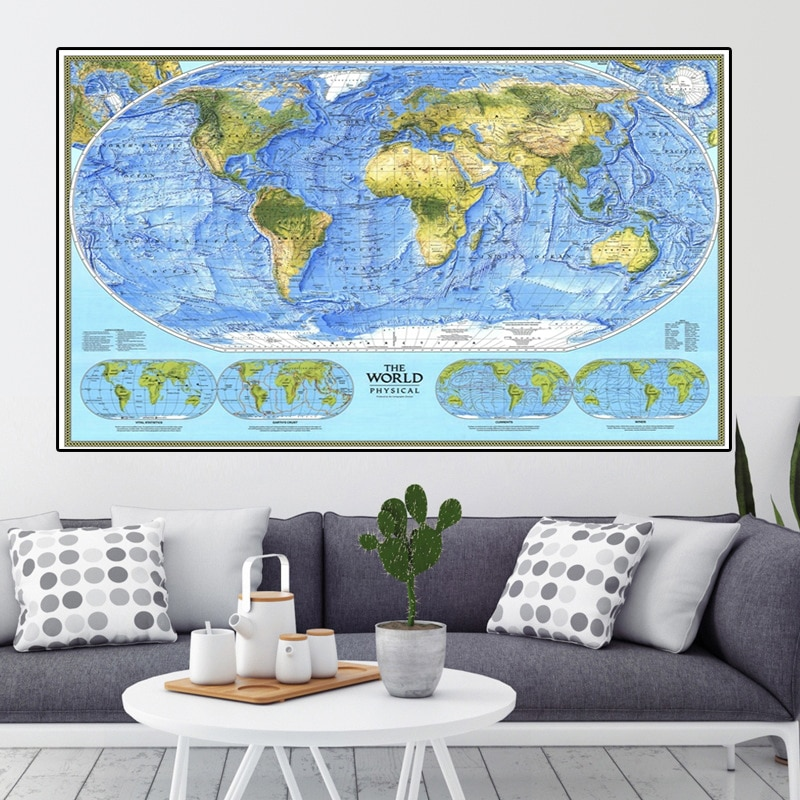 225*150cm 1994 The World Map Non-woven Canvas Painting Retro Wall Art Poster Living Room Home Decoration School Supplies