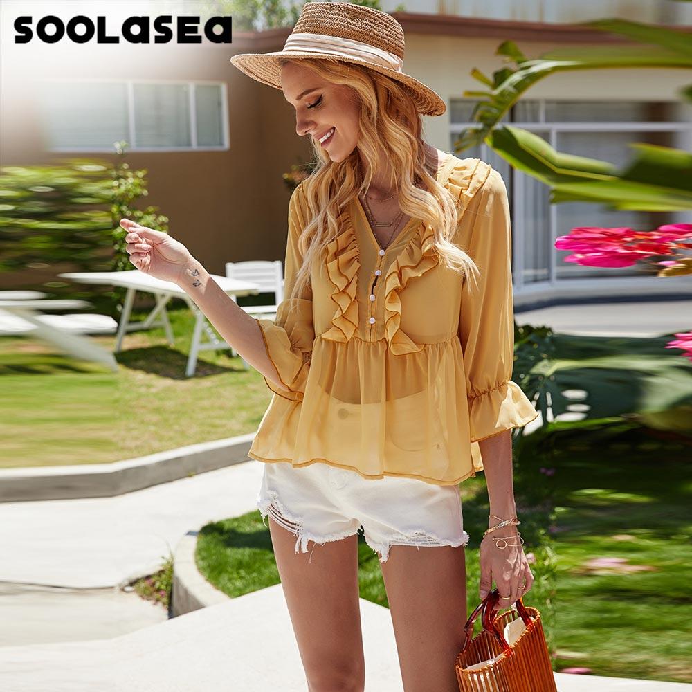 Soolasea Fashion Half Sleeve Solid Yellow Boho Style Shirt Women Blouse Summer 2020 Ruffles Womens Tops and Blouses Blusas