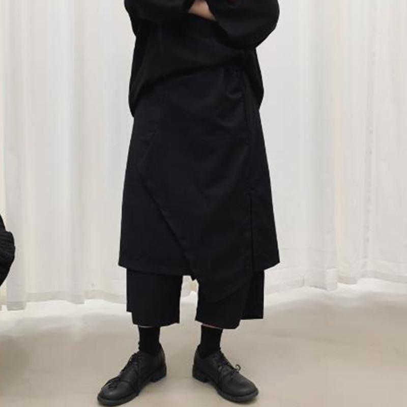 Men Fake 2 Piece Spliced Loose Casual Black Wide Leg Skirt Pants Male Hip Hop Punk Gothic  Harem Trousers Kimono Pants Trousers