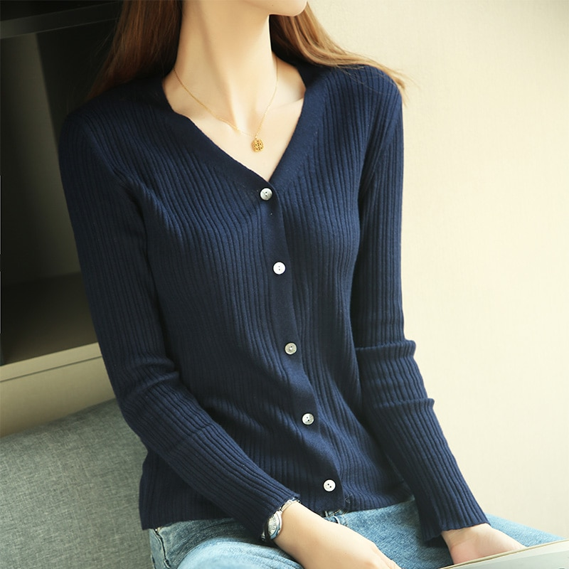 Hot Sale Women Knitwears Knitted Twist V-neck cardigan Pullovers Female Jumpers Long Sleeve Best Quality Sweaters enlarge