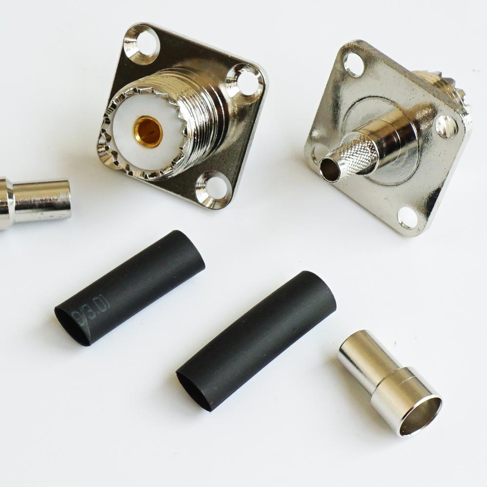 Разъем PL259 SO239 UHF Женский 4 Отверстия Фланец Шасси Панель Крепление обжимной для LMR195 RG58 RG142 RG223 RG400 кабель RF адаптеры