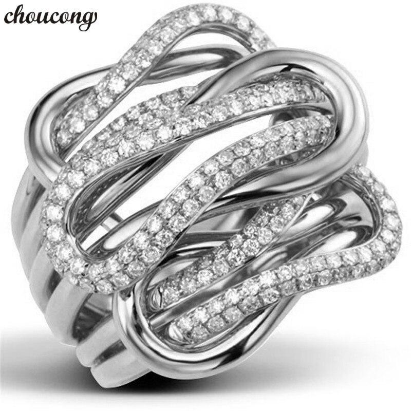Choucong cinturón Cruz promesa anillo pavé diamante 925 plata esterlina compromiso boda anillos para Mujeres Hombres fiesta joyería
