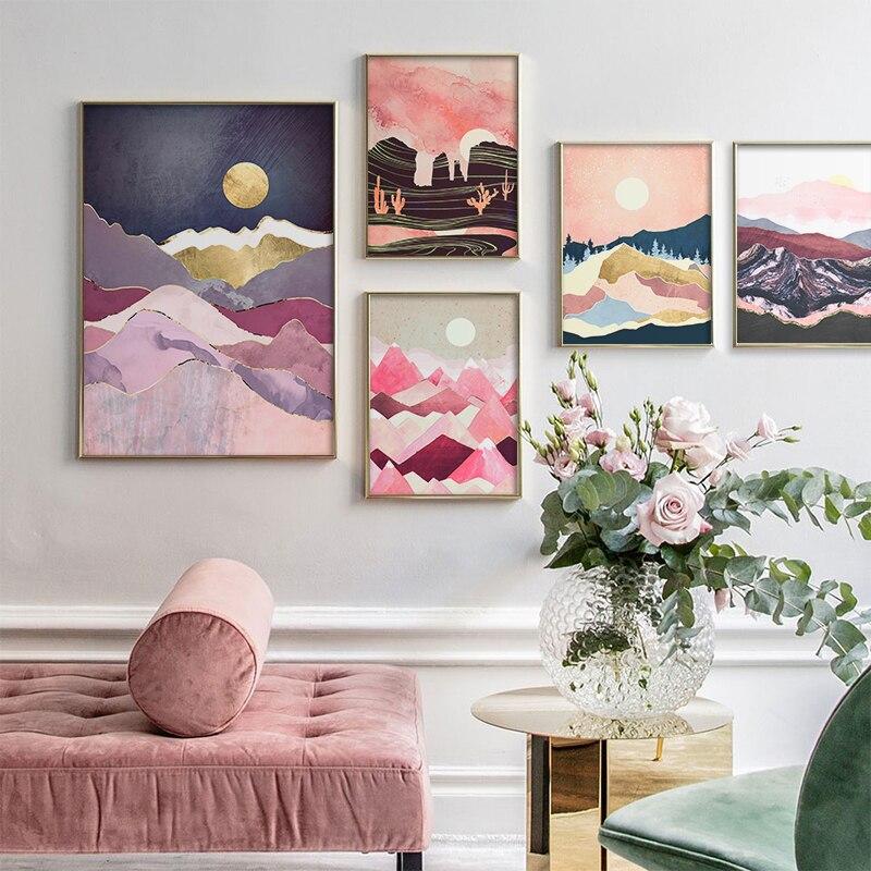 Pósteres japoneses con tonos de flor de cerezo paisaje Rosa amanecer montaña lienzos de pintura impresos pared imágenes artísticas habitación decoración del hogar