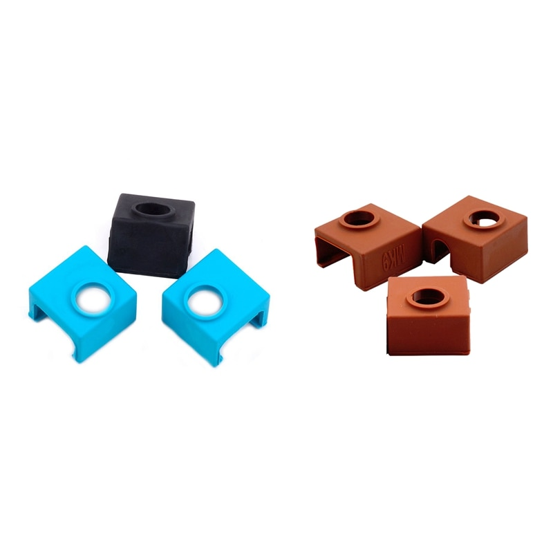 3x Mk10 calcetines de silicona para Wanhao I3 Makerbot y 1x bloque calentador cubierta de silicona Mk7/Mk8/Mk9 Hotend para Creality Cr-10