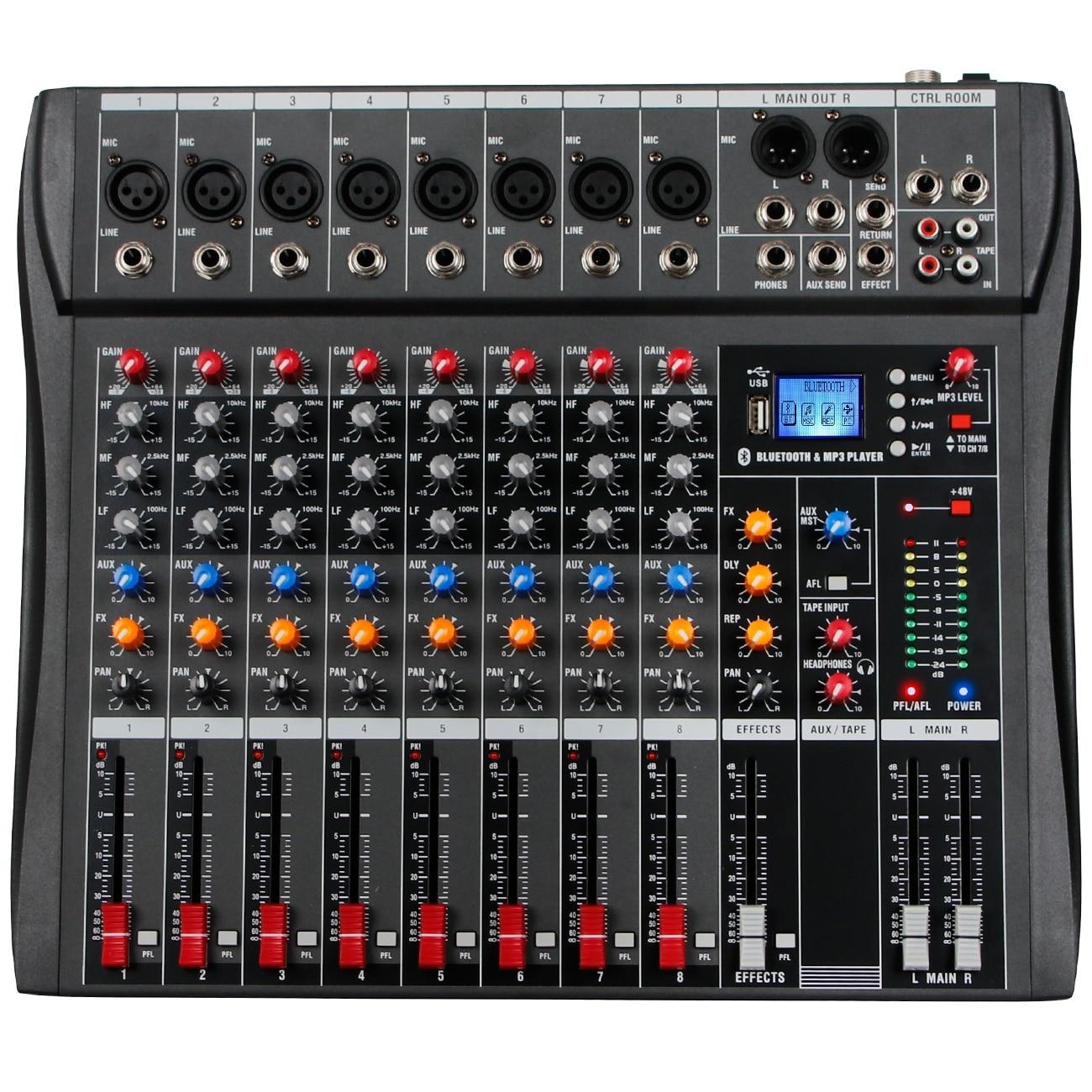 CT-80 خلاط المهنية 8 قنوات مع تأثير صدى DSP مشغل MP3 USB مع 48 فولت امدادات الطاقة سماعة لاسلكية تعمل بالبلوتوث الهاتف