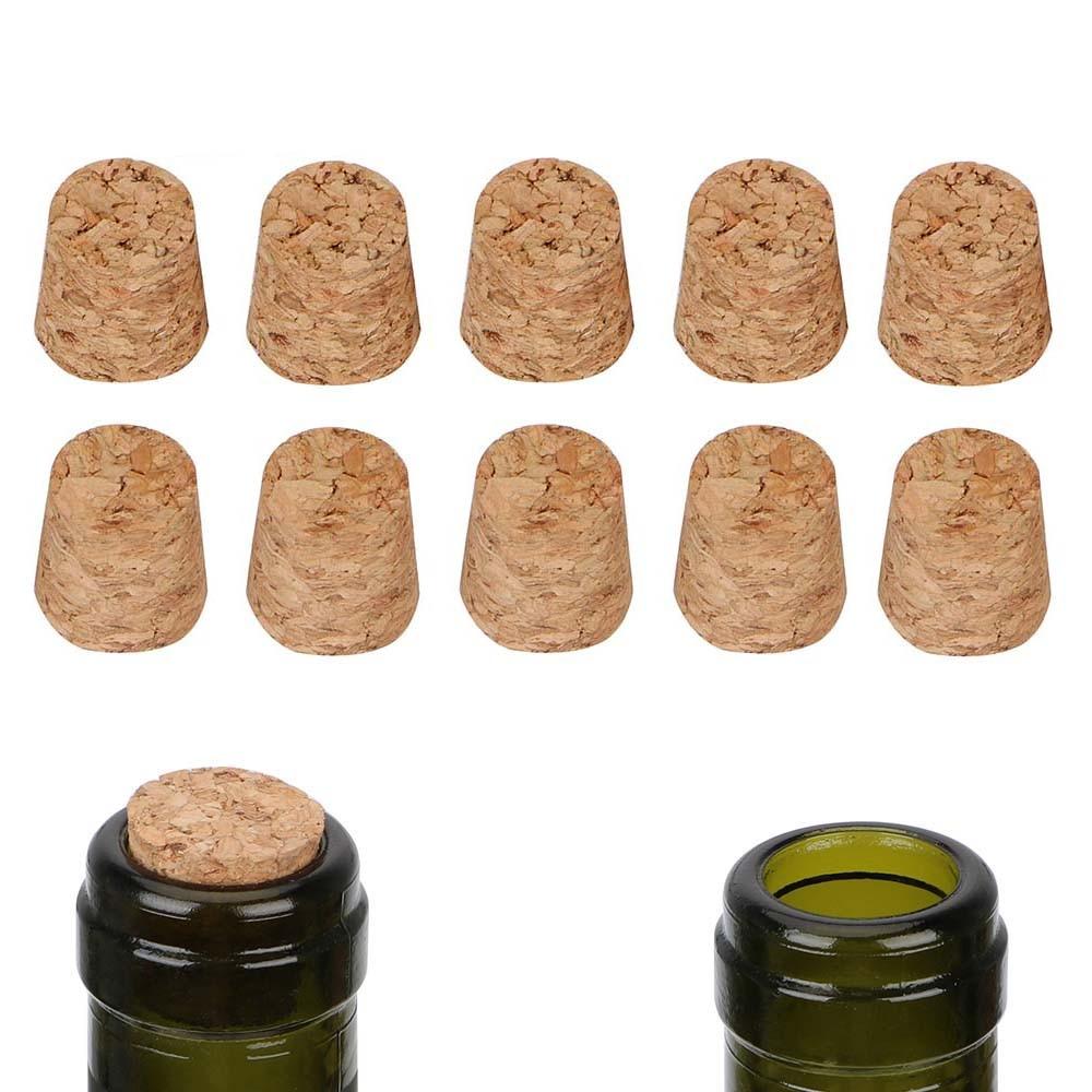 10pcs Wooden Wine Bottle Stopper Tapered Cork Stopper Barware Kitchen Accessories Wine Cork Bar Tools