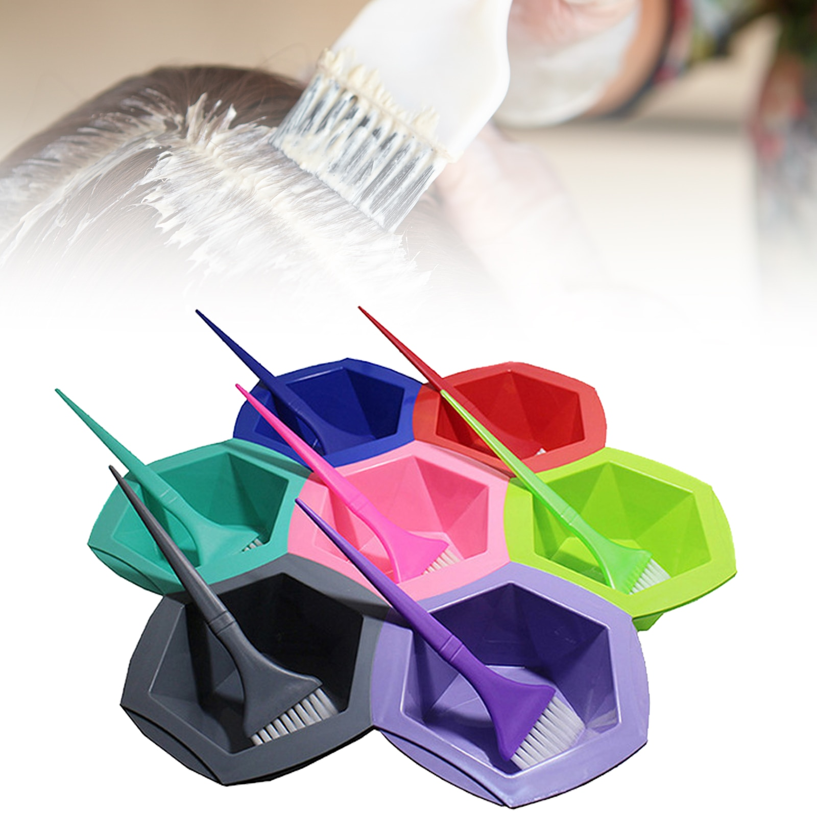 7pcs/set Colorful Hair Dying Brushes Plastic Easy-cleaning Stirring Bowl For Pro Salon Barber Hairdressing Tools