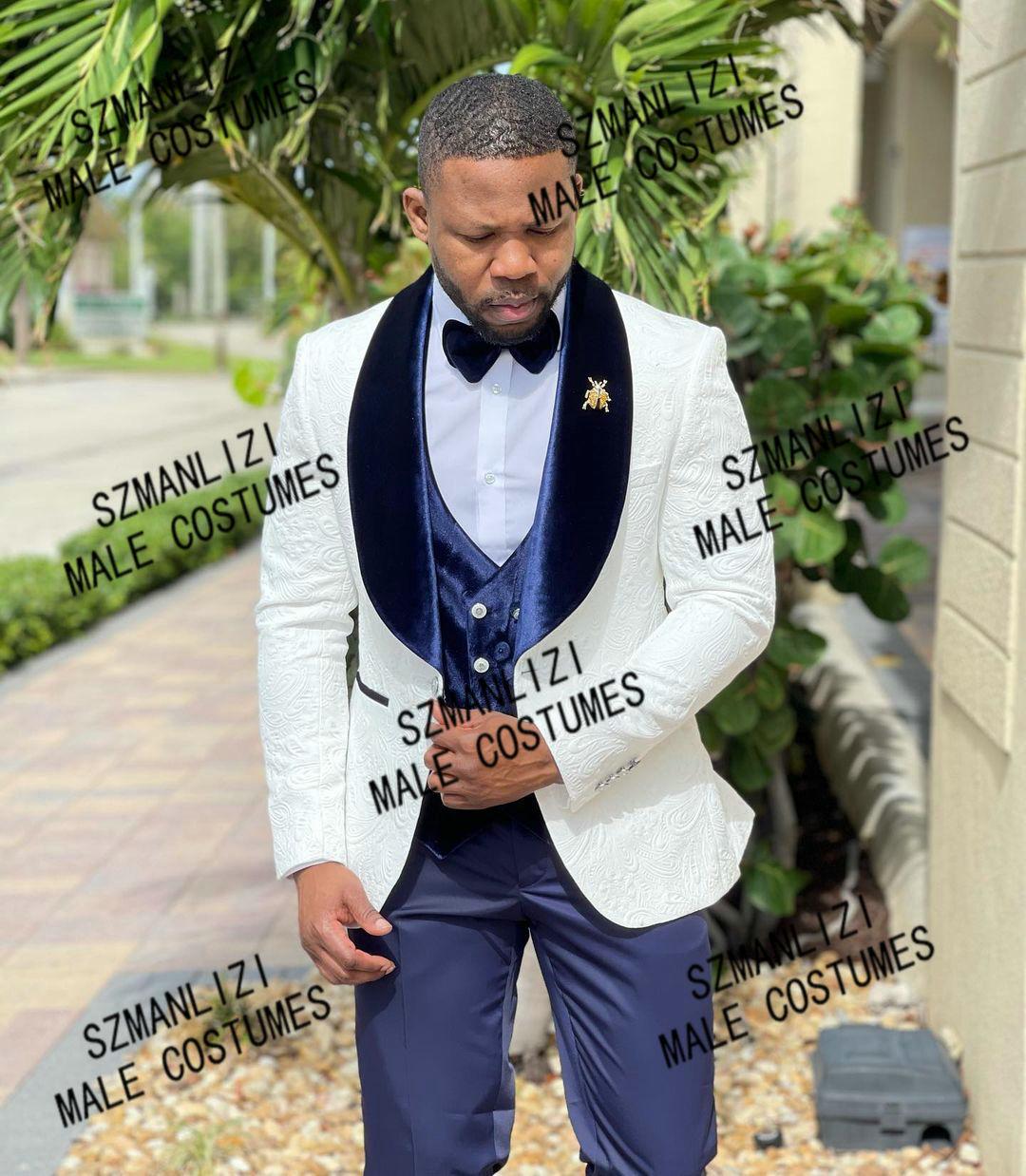 بدل زفاف للرجال 2021 سترة من الجاكارد الأبيض بدلة سهرة رجالية 3 قطع بدلة مصممة حسب الطلب ملائمة للحفلات للرجال بدلة رجالية حريمي