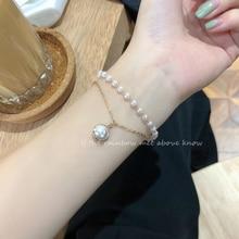 Gold Double-Layer Pearl Bracelet Special-Interest Design Elegant French Shell Bead Pendant Bracelet