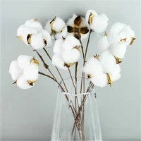 10pcs naturally dried cotton flowers white home decorative artificial floral branch wedding bridesmaid bouquet decor