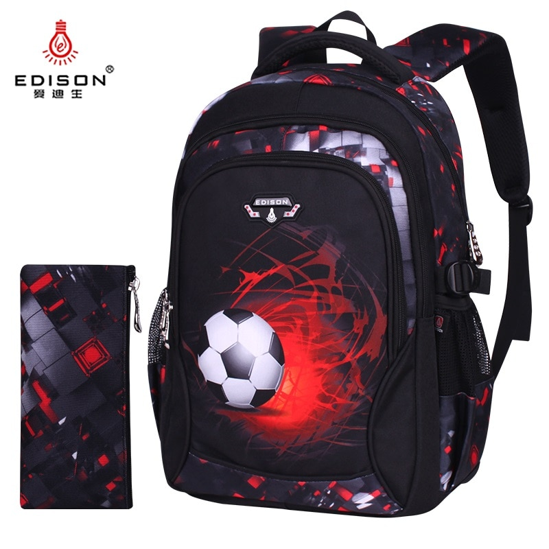 Edison School Backpack for Boy Large School Bags New Children Printing Waterproof Football Student Backpack boy mochila escolar