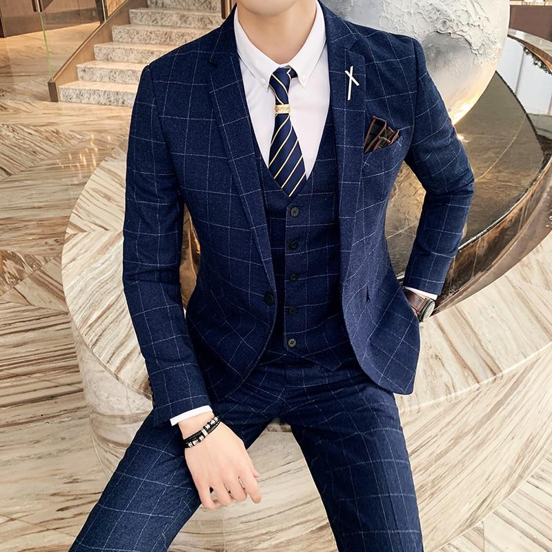Размера плюс S-7XL (пиджак + брюки + жилет) для маленькой девочки роскошный мужской костюм комплект из 3 предметов, комплект одежды, модный бутик...