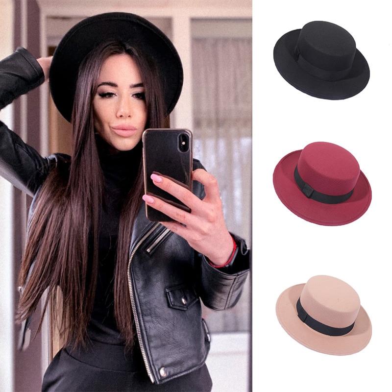 Spring Autumn Wool Boater Flat Top Hat For Womens Felt Wide Brim Fedora Jazz Cap Classic Bowler Gambler