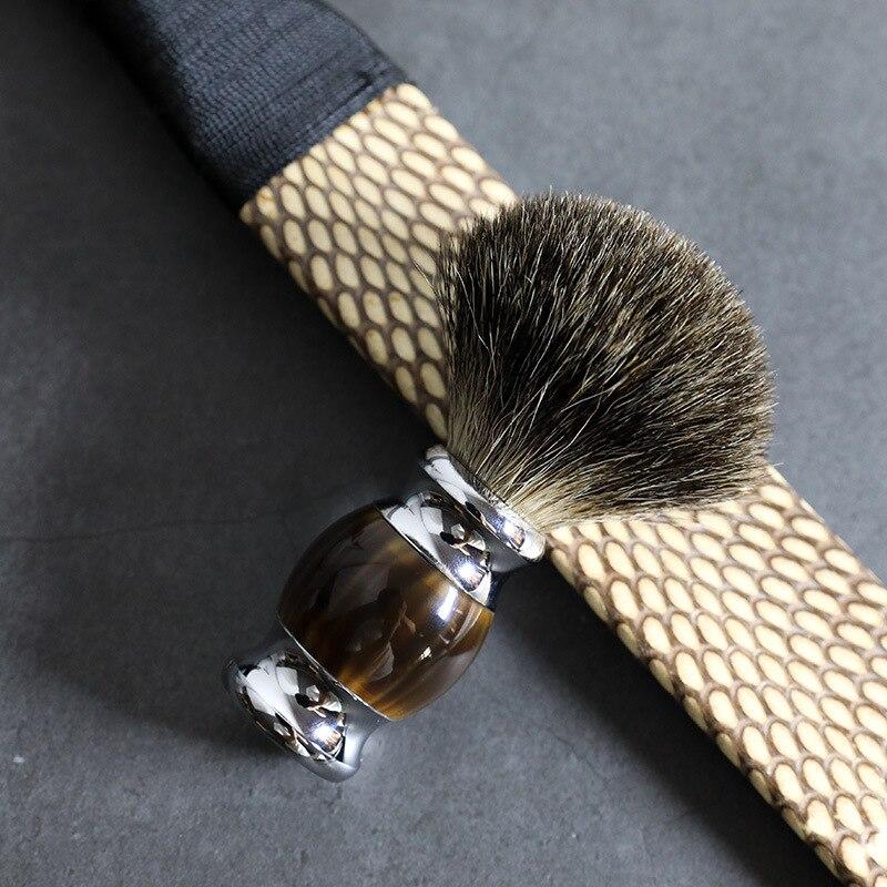 2021 New High-Quality Pure Badger Hair Brush, Shaving Foam Imitating Horns Soft Hair Foaming Brush, Men's Face Cleaning Tool