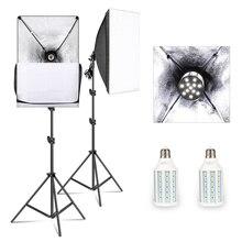 Lumière de Studio de photographie de Kit déclairage de Softbox de 50cm * 70cm avec lampoule de 20W 5500K E27 LED, équipement professionnel de Studio de Photo