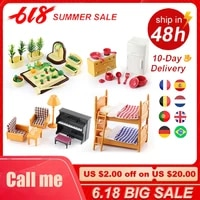 forest family villa 112 figures miniature furniture role play diy dollhouse kids bathroom sets gifts for girls collectible toys
