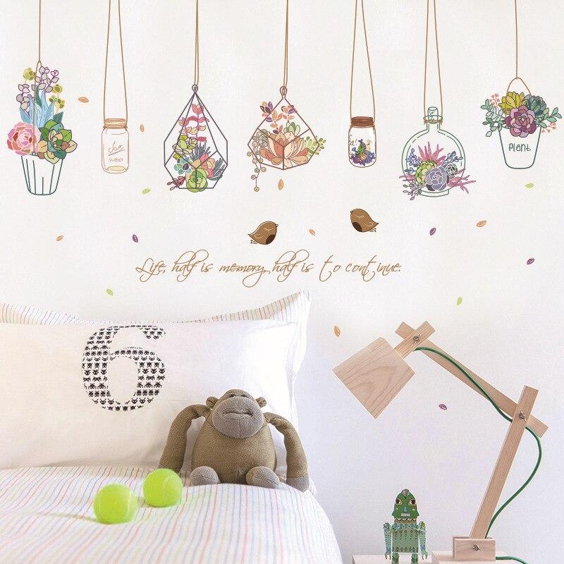 Flor pantalones botella de deriva botella pegatinas de pared casa decoración de la ventana de la sala de adhesivos para pared DIY cartel