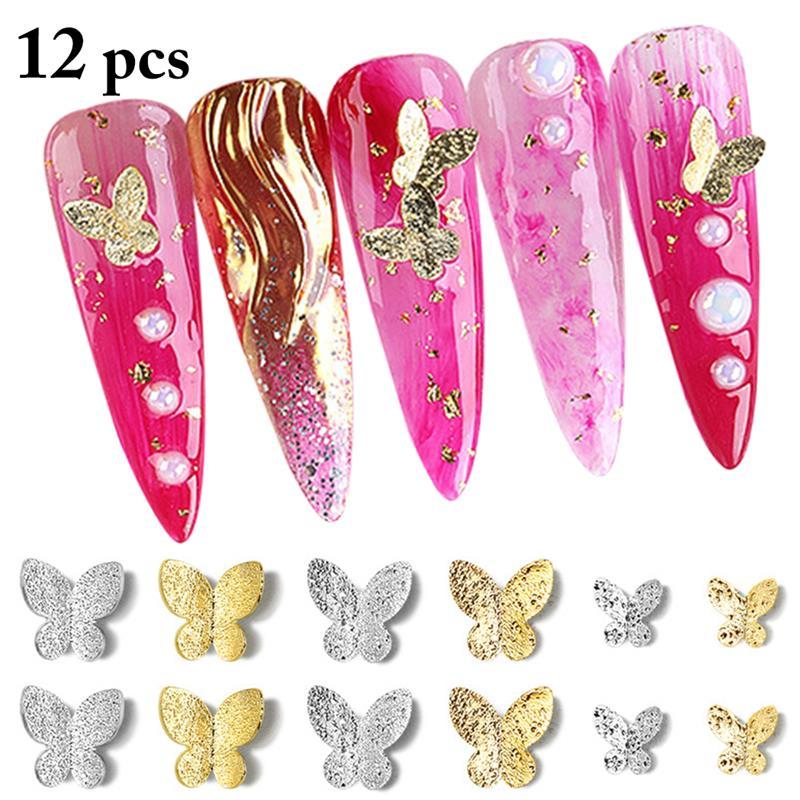 12PCS Nail Charm Fashion Creative 3D Metal Butterfly Decorative Nail Stud Nail Decoration Nail Art a
