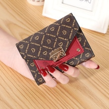 Stitching Leather Bags for Women Mini Ladies Wallets Short Clutch Bag Small Card Holder Multi-functi