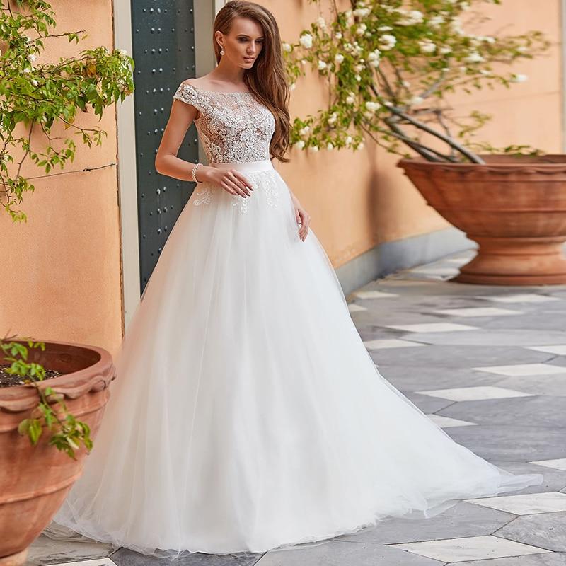 Vestidos de novia de encaje con hombros descubiertos, línea 2021A, longitud hasta...