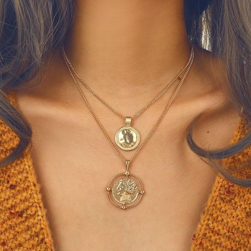 Collar multicapa Vintage X181 para mujer, Gargantilla con cadena de oro colgante,...