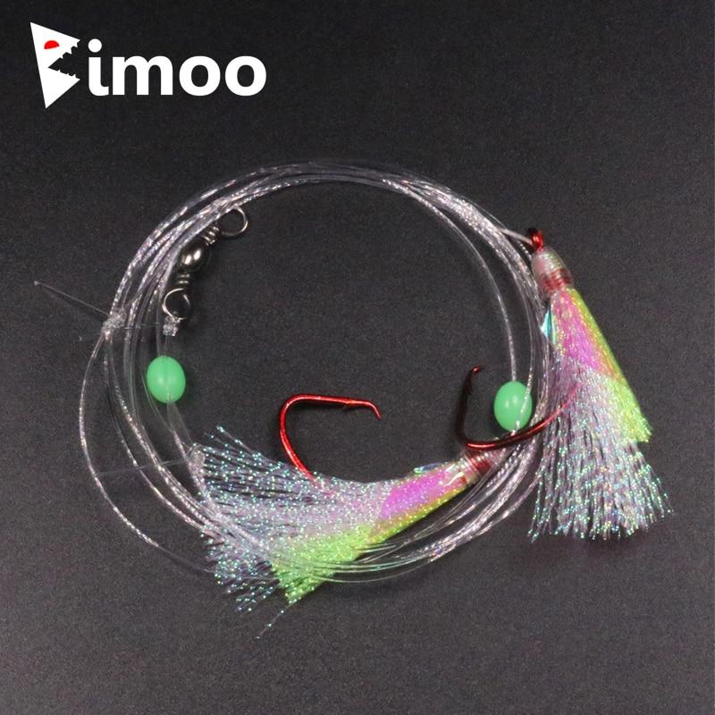 4 sacs 3/0 4/0 5/0 crochet de cercle de nickel rouge grand Flash Sabikis appareil de pêche à la morue avec perle de Lumo plates-formes de pêche en eau salée